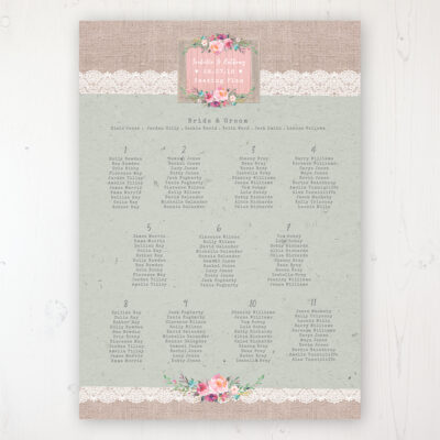 Rustic Farmhouse Wedding Table Plan Poster Personalised with Table and Guest Names