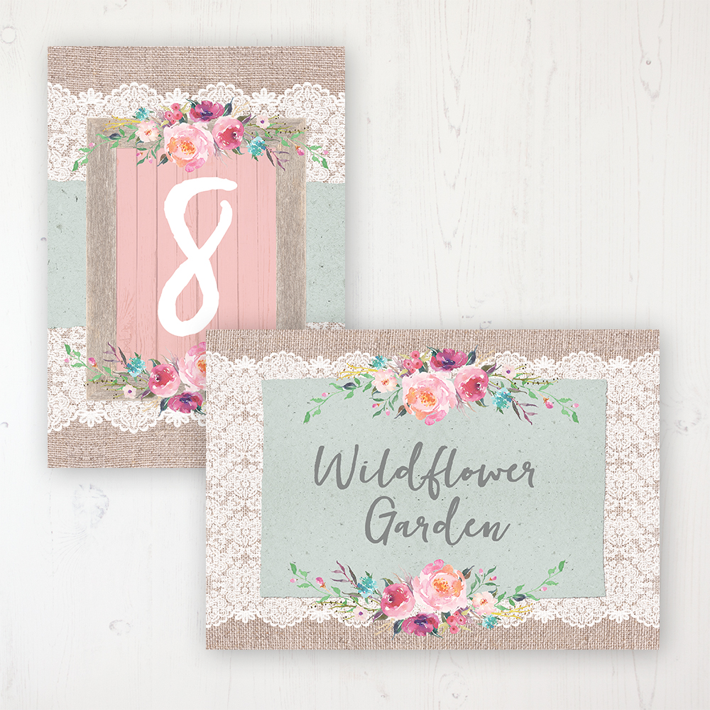 Rustic Farmhouse Wedding Table Name & Number Personalised Table Name Card and Number Card