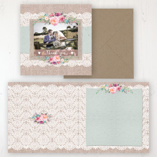 Rustic Farmhouse Wedding Thank You Card - Folded Personalised with a Message & Photo