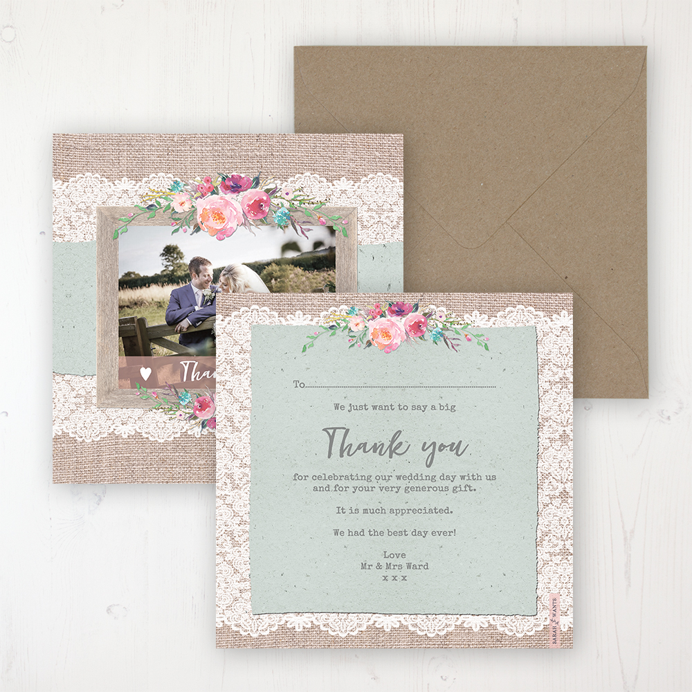 Rustic Farmhouse Wedding Thank You Card - Flat Personalised with a Message & Photo
