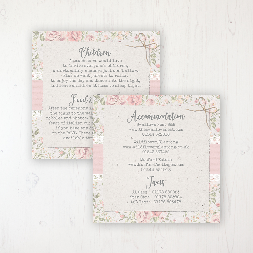 Summer Breeze Wedding Info Insert Card Personalised Front & Back