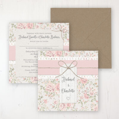 Summer Breeze Wedding Invitation - Flat Personalised Front & Back with Rustic Envelope