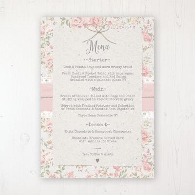 Summer Breeze Wedding Menu Card Personalised to display on tables