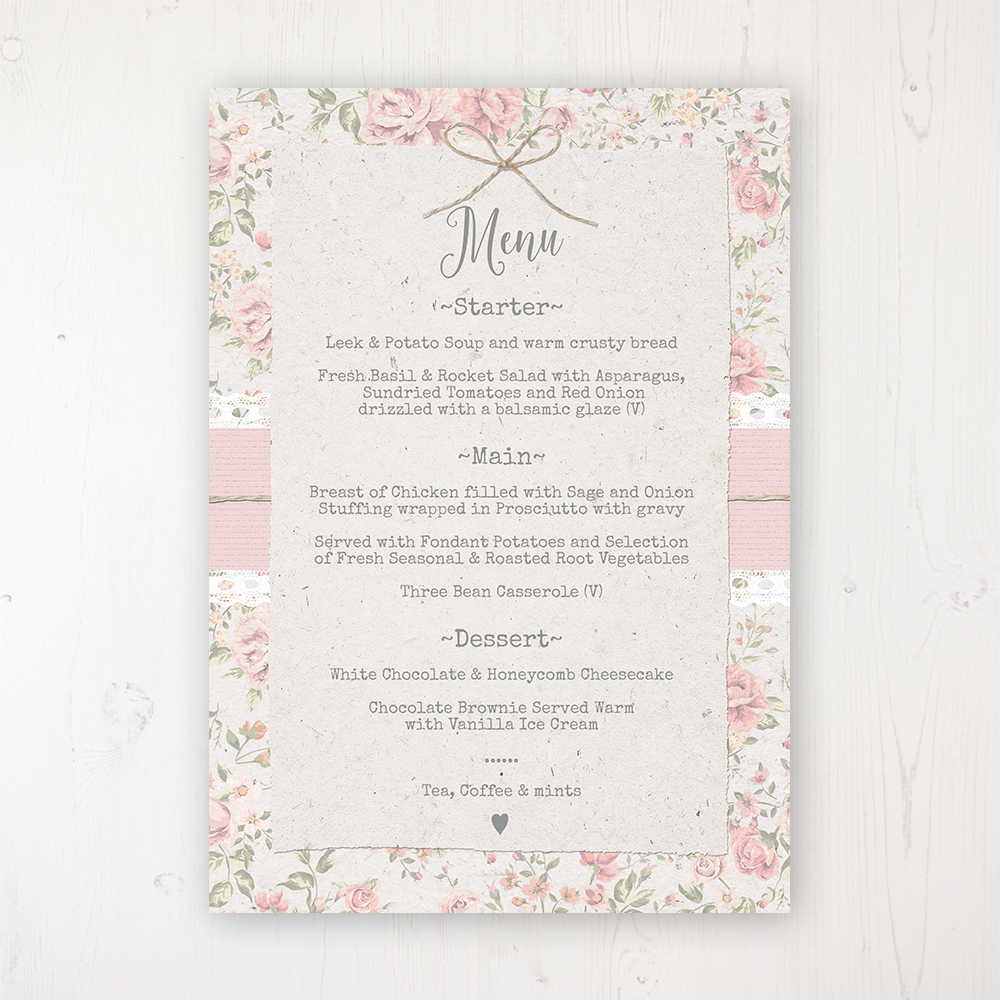 Summer Breeze Wedding Menu Card Personalised to display on tables
