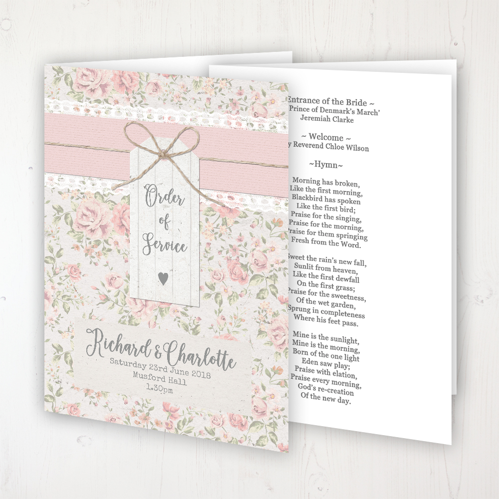 Summer Breeze Wedding Order of Service - Booklet Personalised Front & Inside Pages