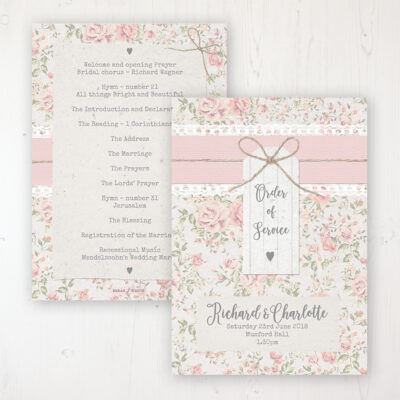 Summer Breeze Wedding Order of Service - Card Personalised front and back