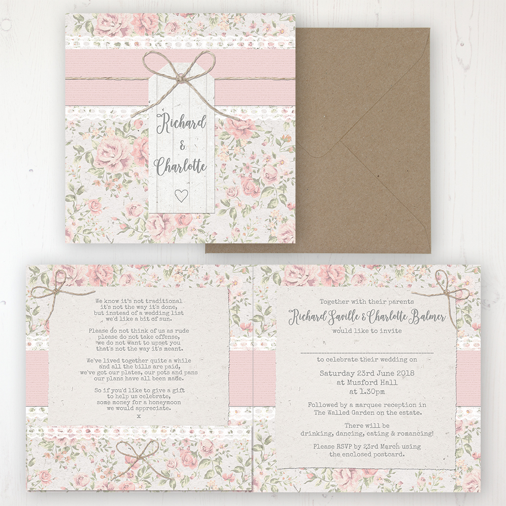 Summer Breeze Wedding Invitation - Folded Personalised Front & Back with Pocket in inside cover. Includes Rustic Envelope