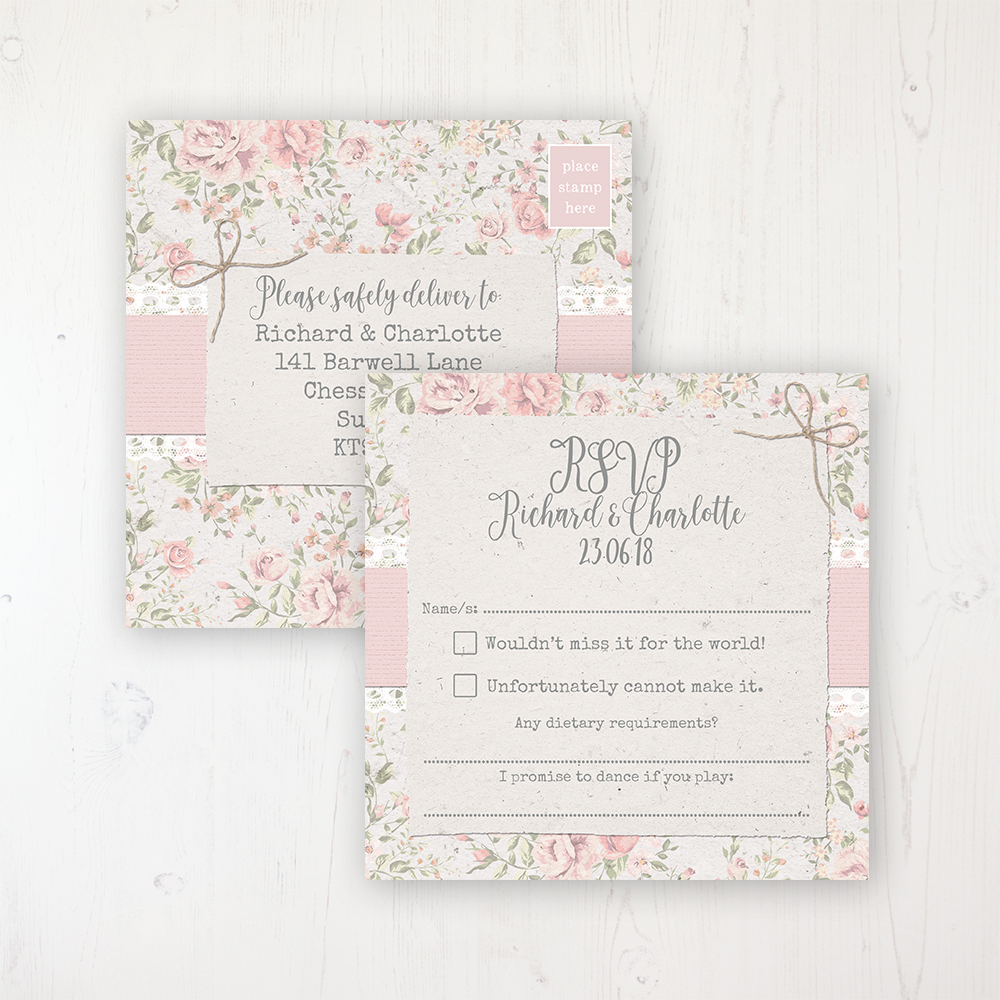 Summer Breeze Wedding RSVP Postcard Personalised Front & Back