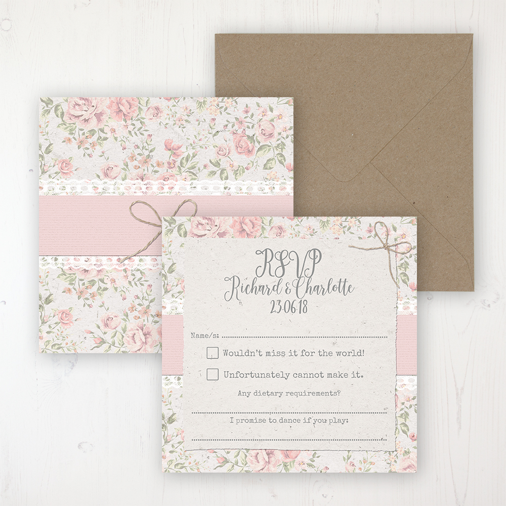 Summer Breeze Wedding RSVP Personalised Front & Back with Rustic Envelope