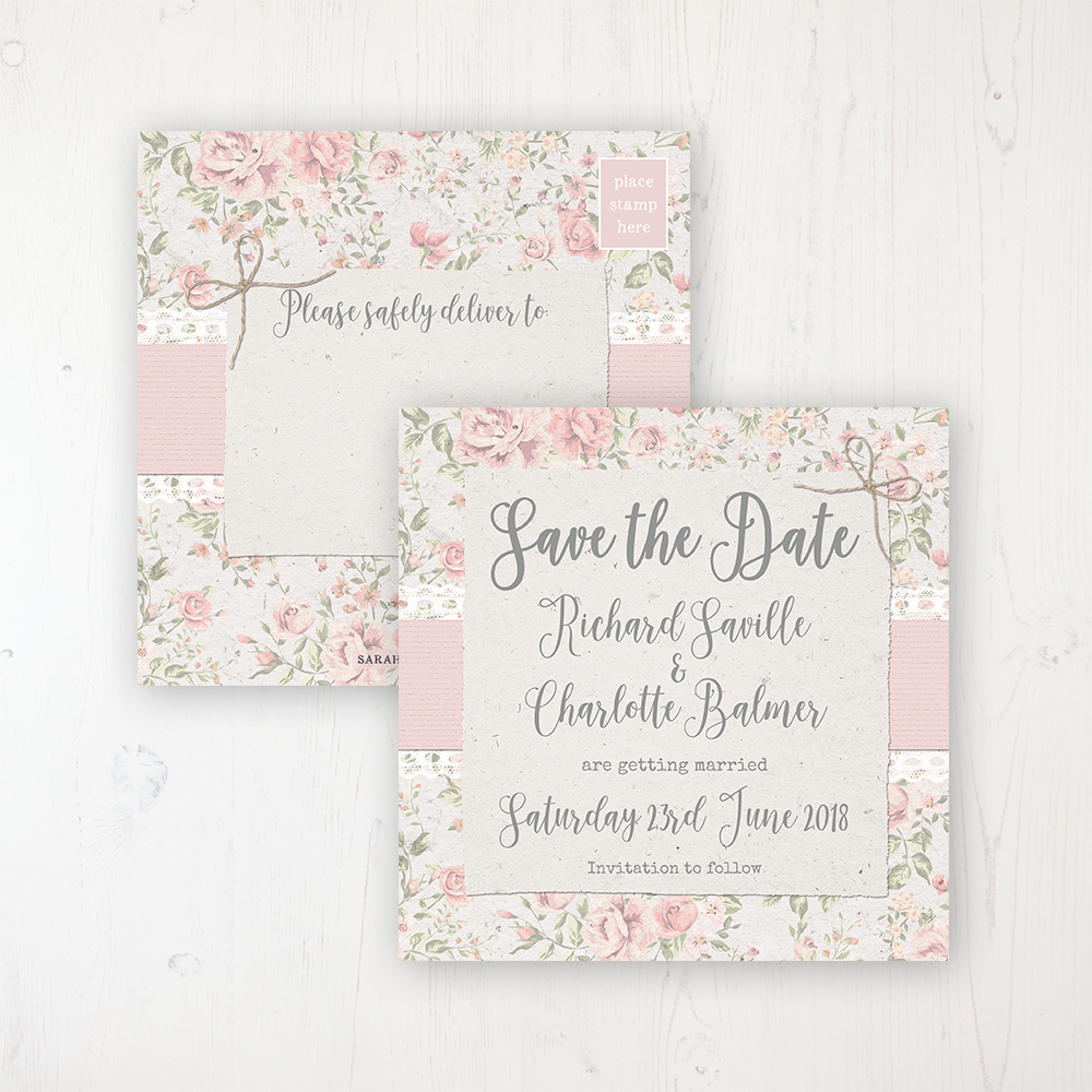 Summer Breeze Wedding Save the Date Postcard Personalised Front & Back