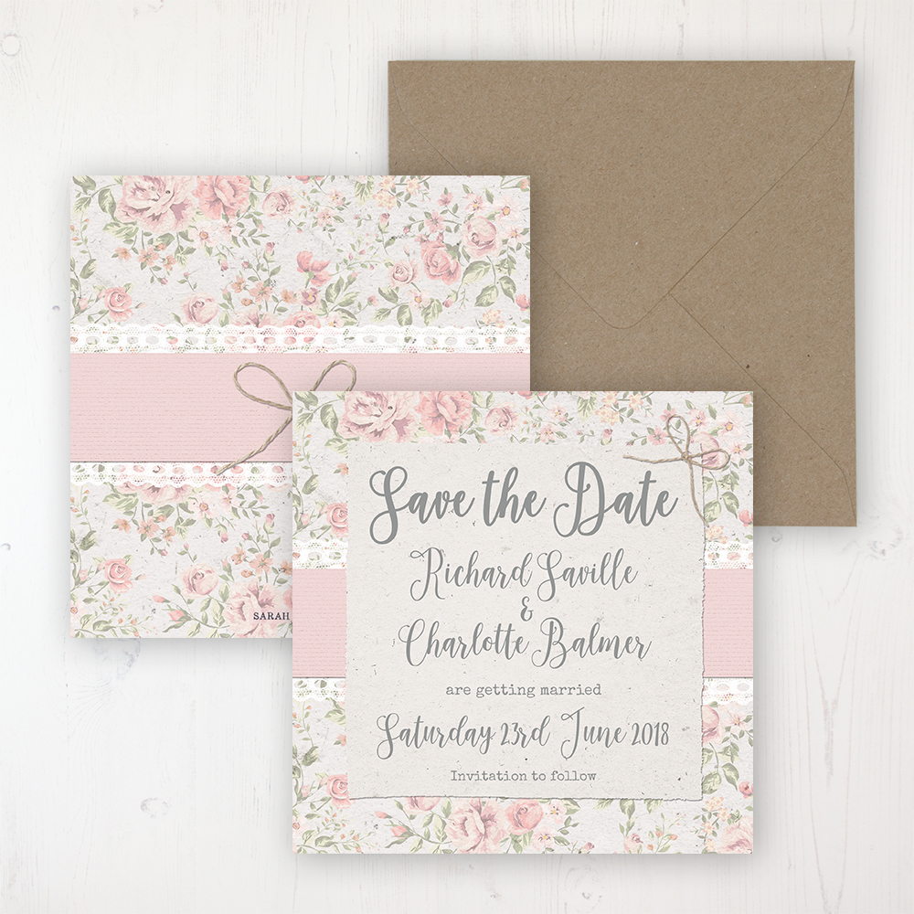 Summer Breeze Wedding Save the Date Personalised Front & Back with Rustic Envelope