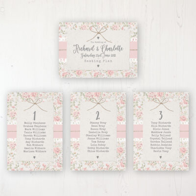 Summer Breeze Wedding Table Plan Cards Personalised with Table Names and Guest Names