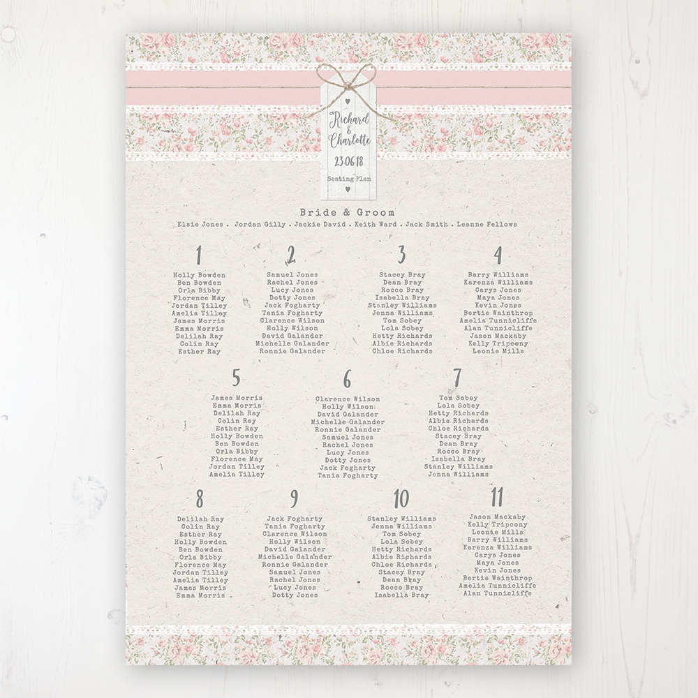 Summer Breeze Wedding Table Plan Poster Personalised with Table and Guest Names