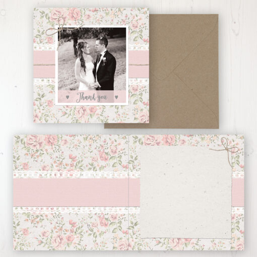 Summer Breeze Wedding Thank You Card - Folded Personalised with a Message & Photo