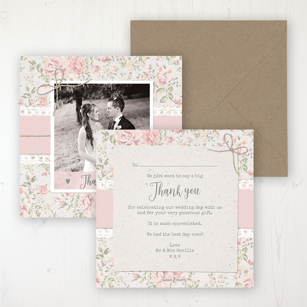 Summer Breeze Wedding Thank You Card - Flat Personalised with a Message & Photo