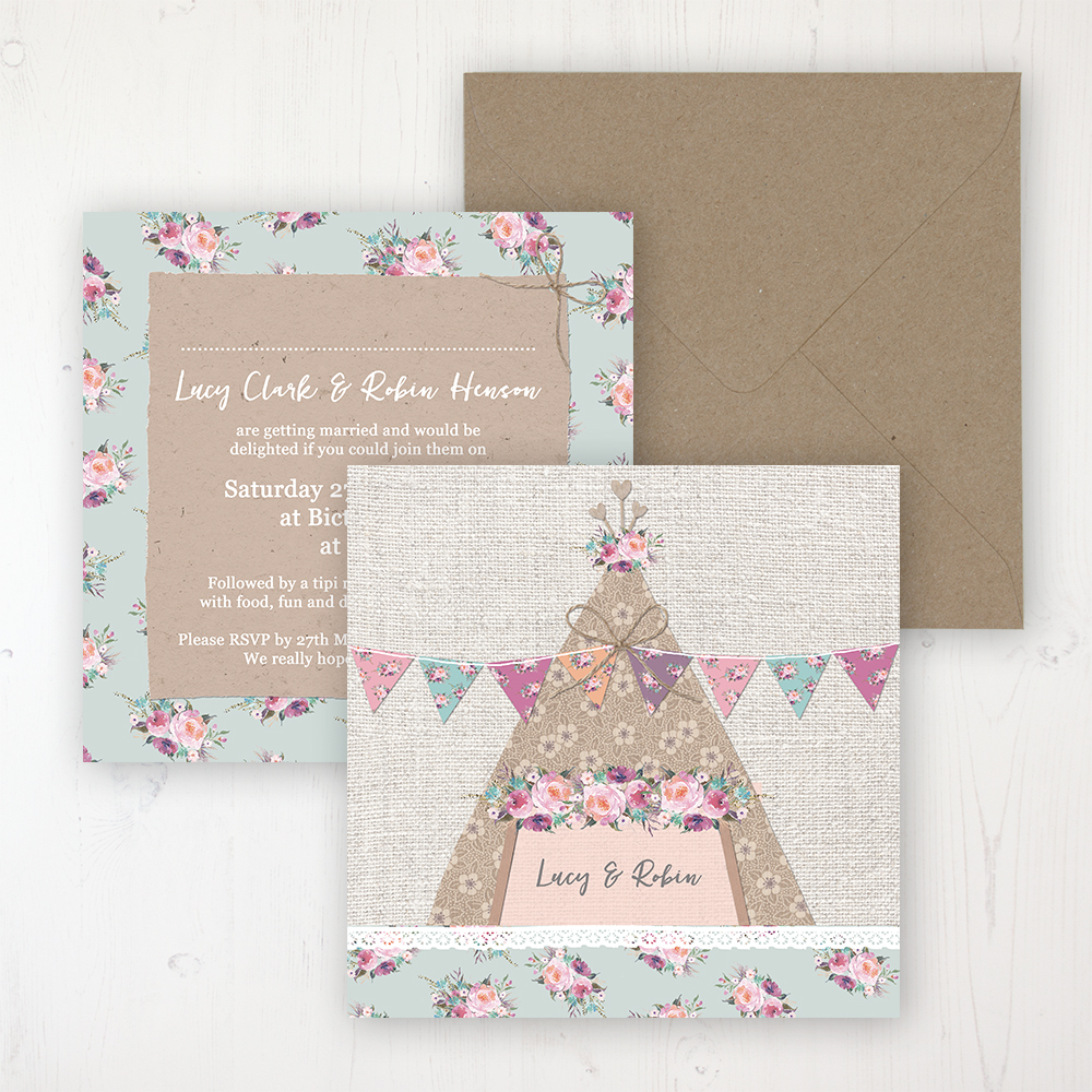 Tipi Love Wedding Invitation - Flat Personalised Front & Back with Rustic Envelope
