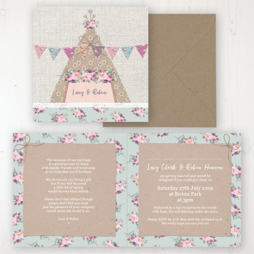 Tipi Love Wedding Invitation - Folded Personalised Front & Back with Rustic Envelope