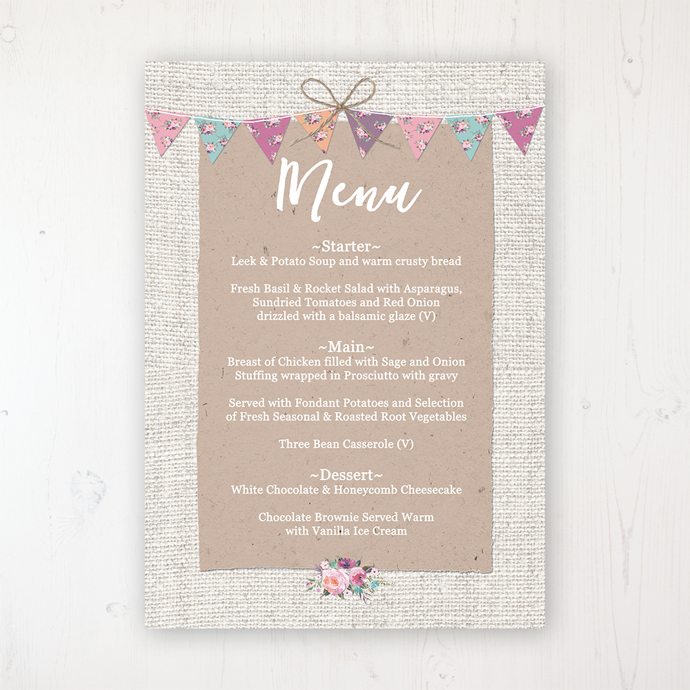 Tipi Love Wedding Menu Card Personalised to display on tables