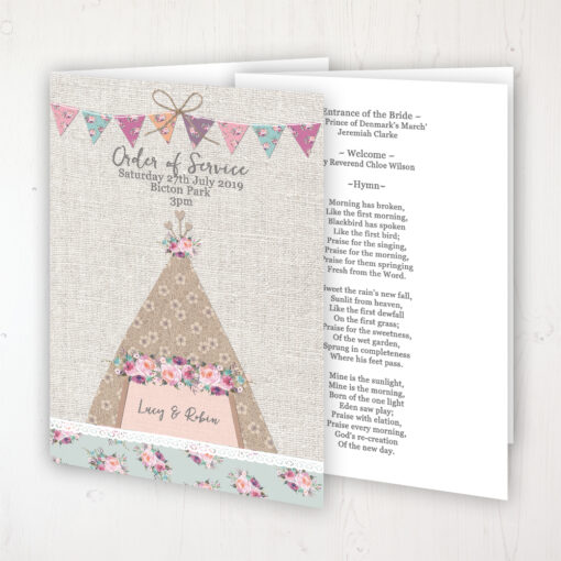 Tipi Love Wedding Order of Service - Booklet Personalised Front & Inside Pages