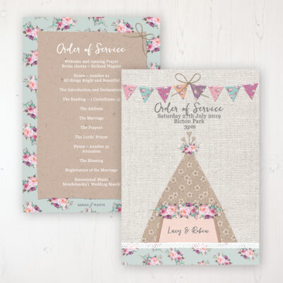 Tipi Love Wedding Order of Service - Card Personalised front and back