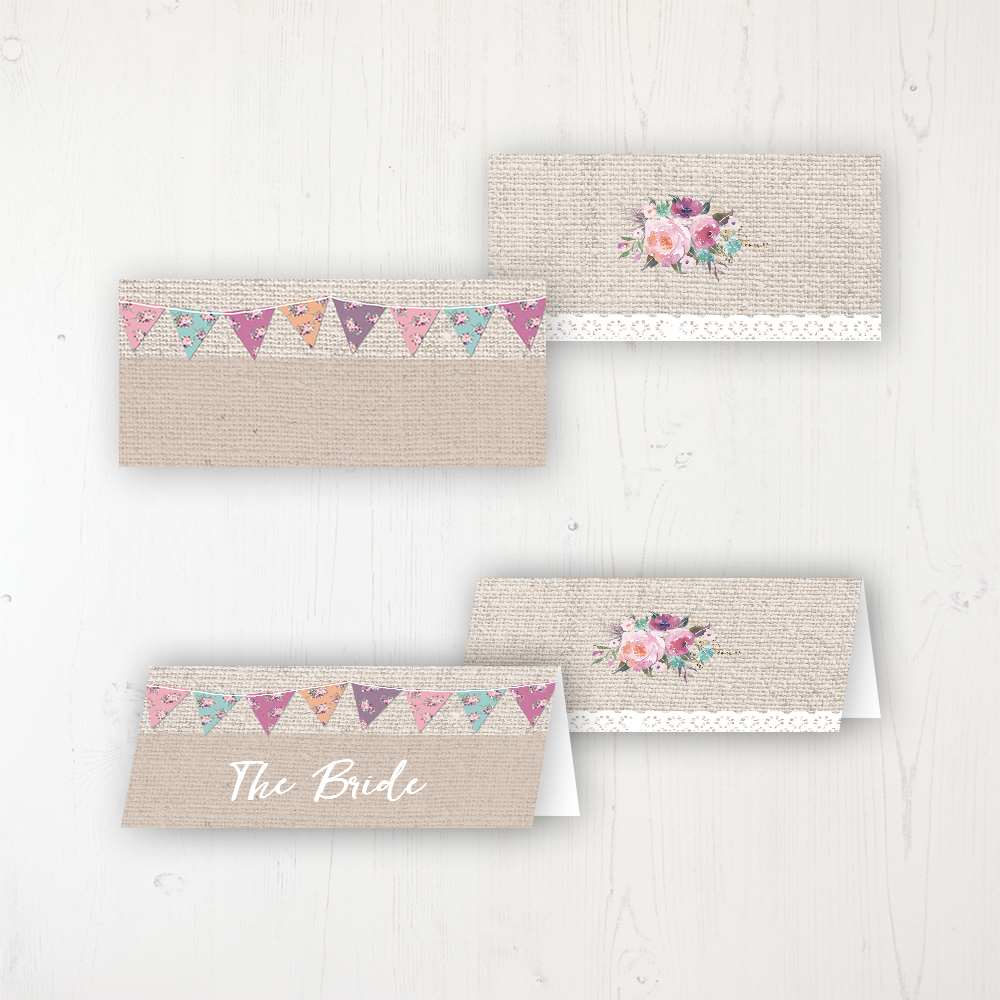 Tipi Love Wedding Place Name Cards Blank and Personalised with Flat or Folded Option