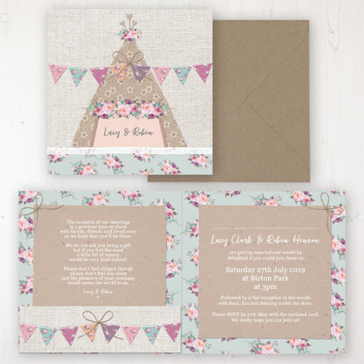 Tipi Love Wedding Invitation - Folded Personalised Front & Back with Pocket in inside cover. Includes Rustic Envelope