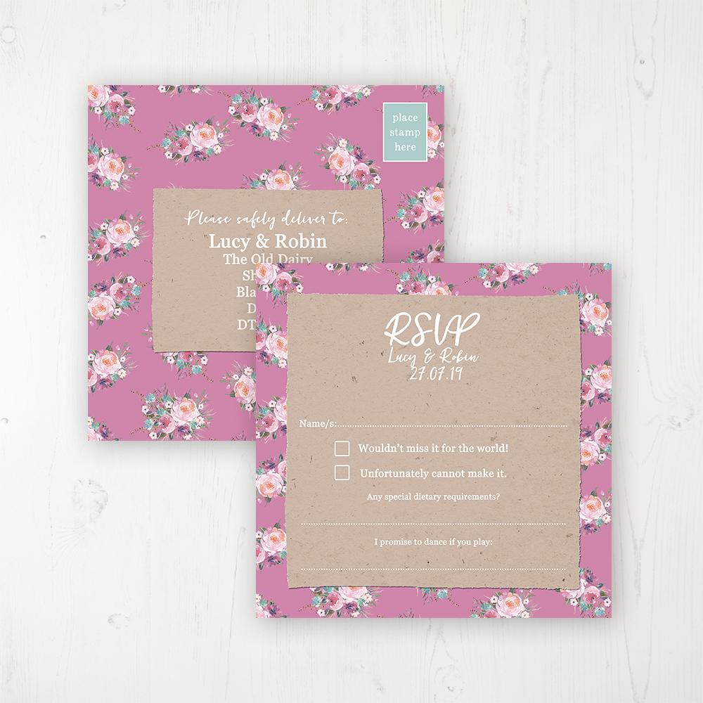 Tipi Love Wedding RSVP Postcard Personalised Front & Back