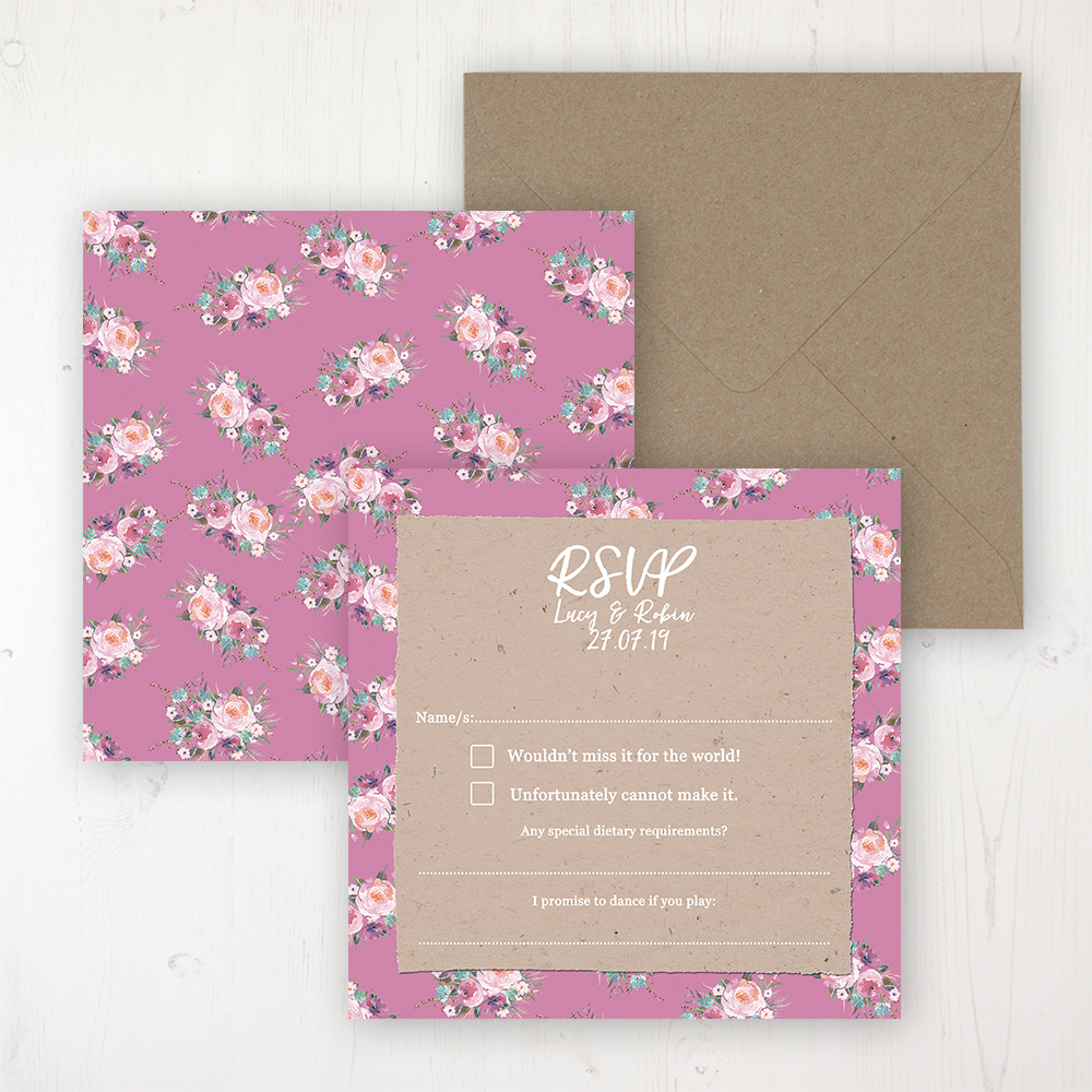 Tipi Love Wedding RSVP Personalised Front & Back with Rustic Envelope