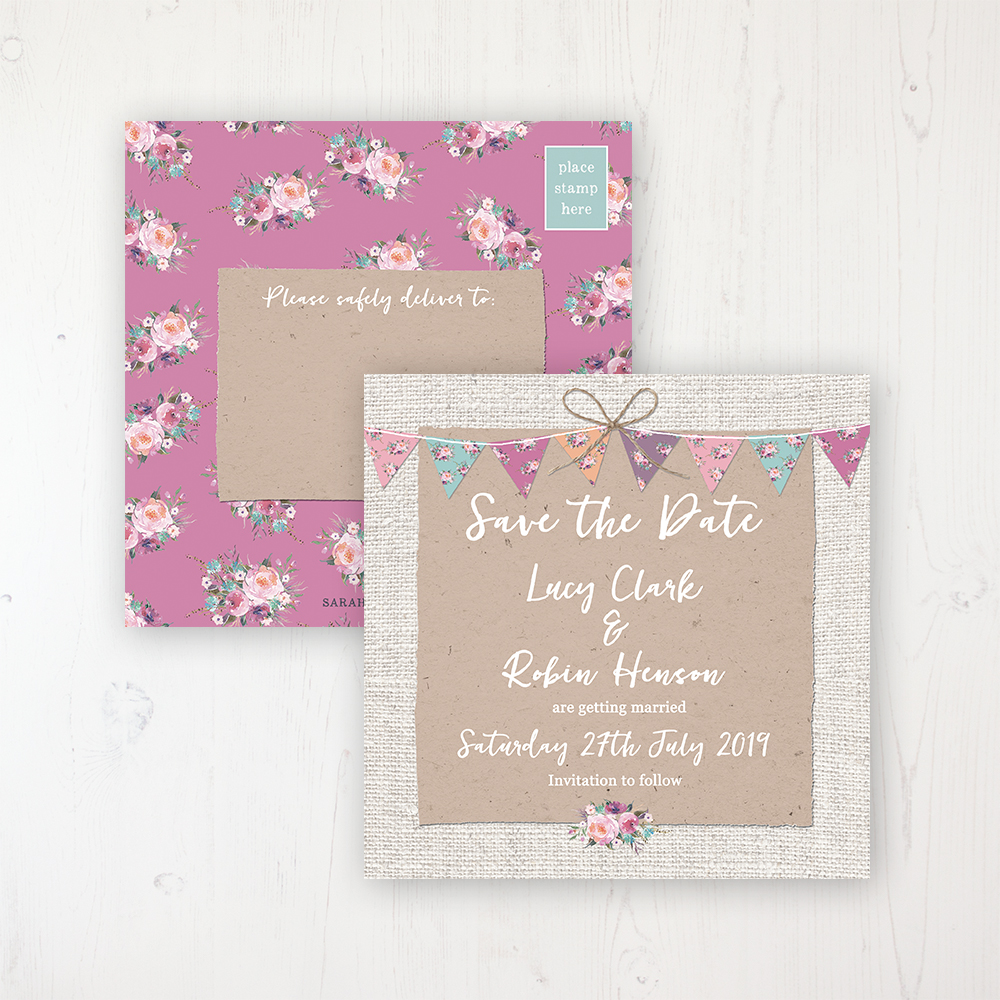 Tipi Love Wedding Save the Date Postcard Personalised Front & Back