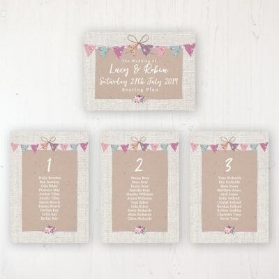 Tipi Love Wedding Table Plan Cards Personalised with Table Names and Guest Names