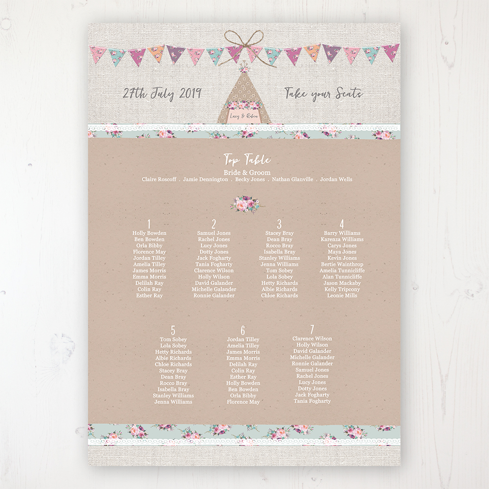 Tipi Love Wedding Table Plan Poster Personalised with Table and Guest Names