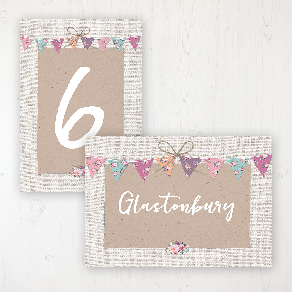 Tipi Love Wedding Table Name & Number Personalised Table Name Card and Number Card