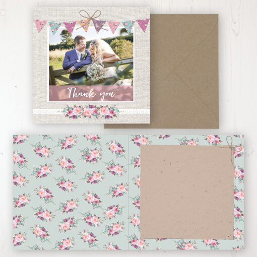 Tipi Love Wedding Thank You Card - Folded Personalised with a Message & Photo