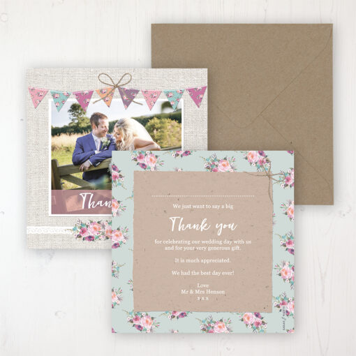 Tipi Love Wedding Thank You Card - Flat Personalised with a Message & Photo