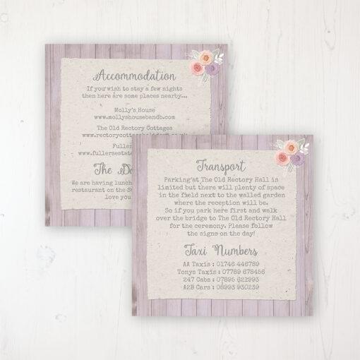 Vintage Birdcage Wedding Info Insert Card Personalised Front & Back
