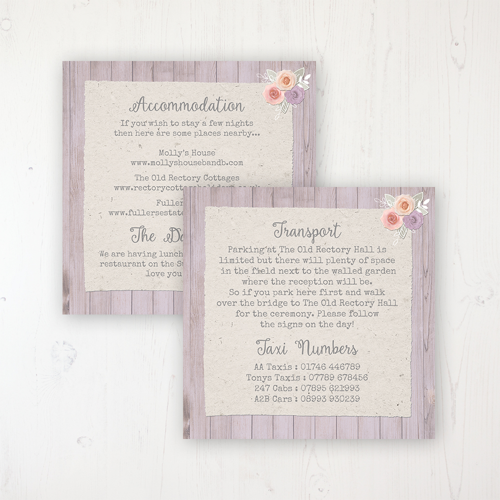 Vintage Birdcage Wedding Info Insert Card Personalised Front & Back