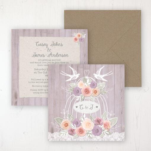 Vintage Birdcage Wedding Invitation - Flat Personalised Front & Back with Rustic Envelope