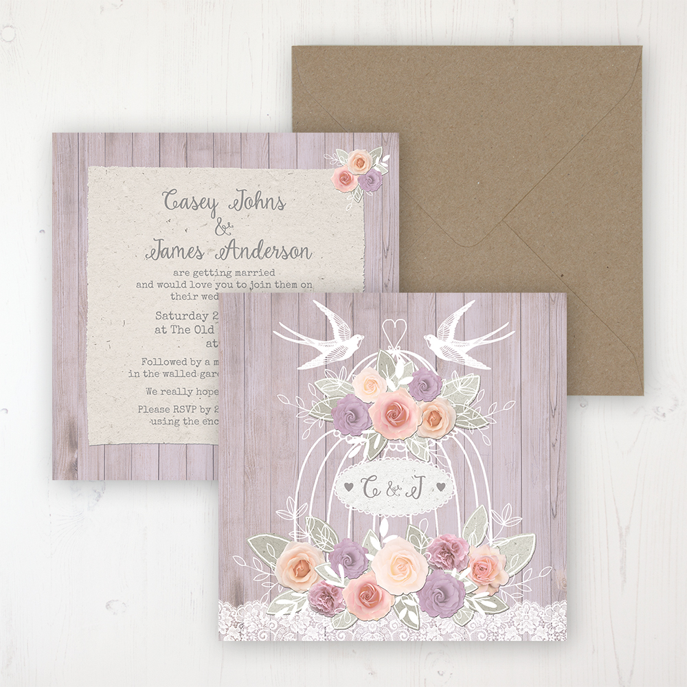 Vintage Birdcage Wedding Invitation Flat Personalised Front Back With Rustic Envelope