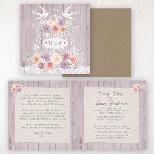 Vintage Birdcage Wedding Invitation - Folded Personalised Front & Back with Rustic Envelope