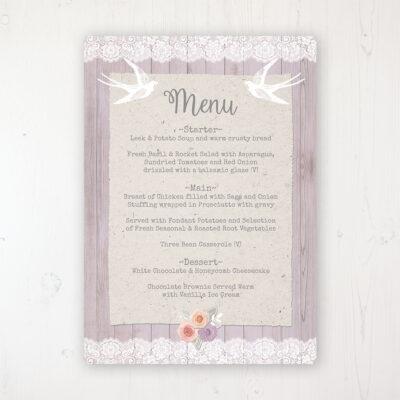 Vintage Birdcage Wedding Menu Card Personalised to display on tables