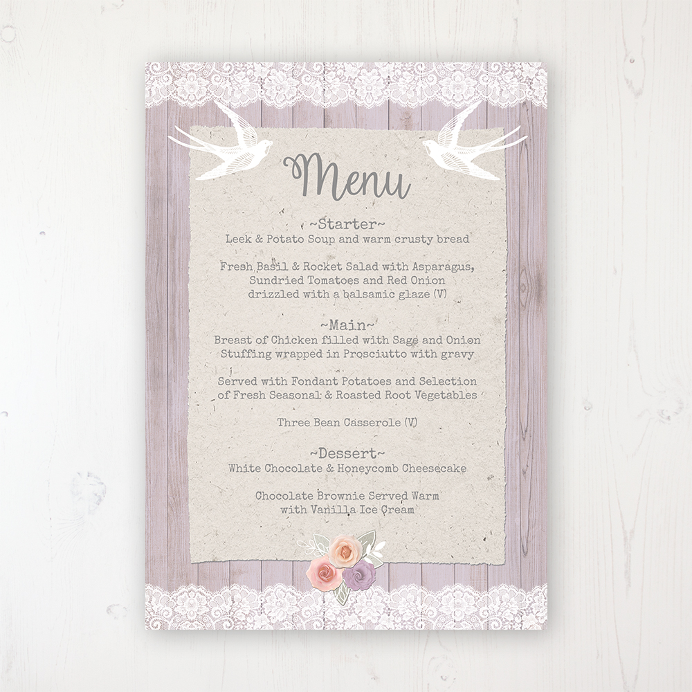 Vintage Birdcage Wedding Menu Card Personalised to display on tables