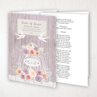 Vintage Birdcage Wedding Order of Service - Booklet Personalised Front & Inside Pages