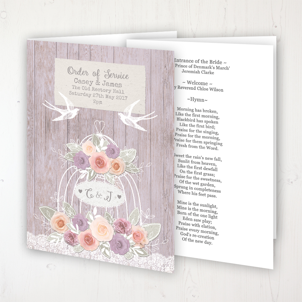 Vintage Birdcage Wedding Order of Service - Booklet Personalised Front & Inside Pages