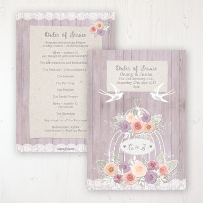 Vintage Birdcage Wedding Order of Service - Card Personalised front and back