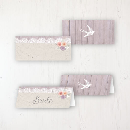 Vintage Birdcage Wedding Place Name Cards Blank and Personalised with Flat or Folded Option