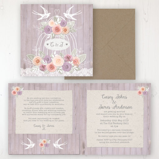 Vintage Birdcage Wedding Invitation - Folded Personalised Front & Back with Pocket in inside cover. Includes Rustic Envelope