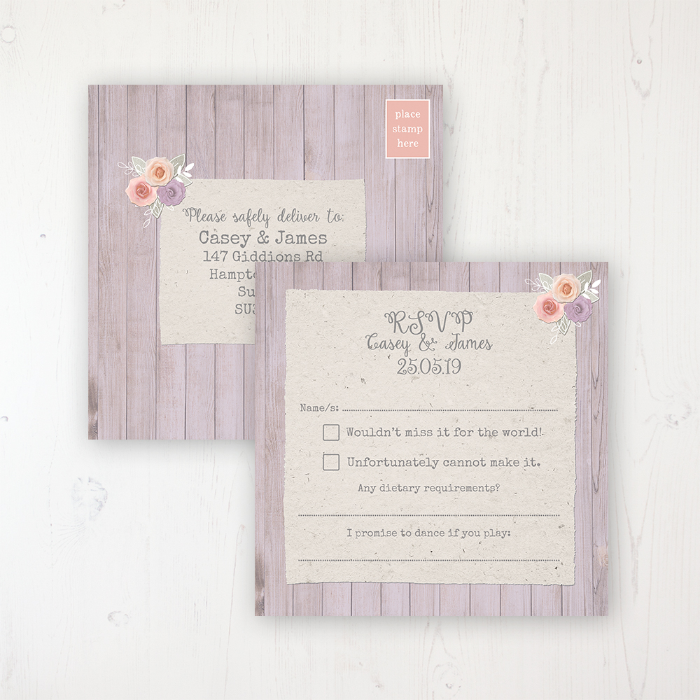 Vintage Birdcage Wedding RSVP Postcard Personalised Front & Back