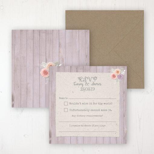 Vintage Birdcage Wedding RSVP Personalised Front & Back with Rustic Envelope