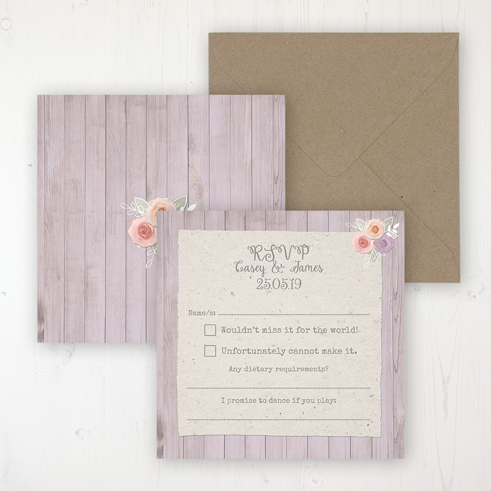 Vintage Birdcage Wedding RSVP Personalised Front & Back with Rustic Envelope