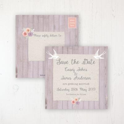 Vintage Birdcage Wedding Save the Date Postcard Personalised Front & Back
